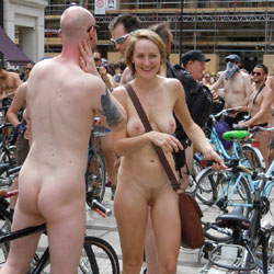 London Naked Bike Ride 2014 - Nude Girls, Public Exhibitionist, Public Place, Bush Or Hairy
