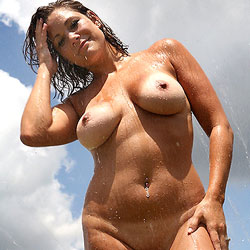 Backyard Sprinkler - Big Tits, Brunette Hair, Nude Outdoors, Naked Girl