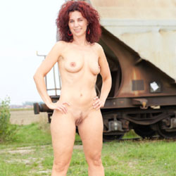 Lena - Train Station - Big Tits, Heels, Nude Outdoors, Redhead, See Through, Naked Girl, Sexy Ass