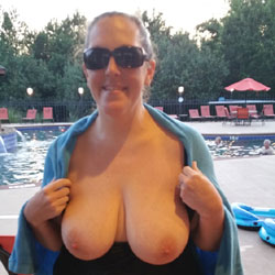 Poolside Popouts - Big Tits, Brunette, Outdoors, Amateur