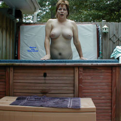 Hot Tub Fun - Nude Amateurs, Big Tits, Outdoors, Redhead