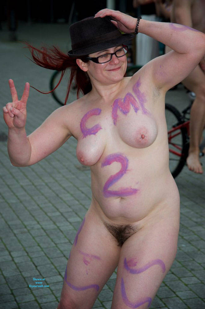 Pic #3 World Naked Bike Ride London 2 - Nude Girls, Big Tits, Public Exhibitionist, Outdoors, Public Place, Bush Or Hairy