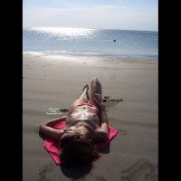 Lying Topless On Beach Alone - Brown Hair, Hard Nipple, Small Tits, Topless