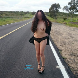 A Little Bit More From Laura On The Road - Nude Girls, Big Tits, Brunette, Outdoors, Bush Or Hairy, Amateur