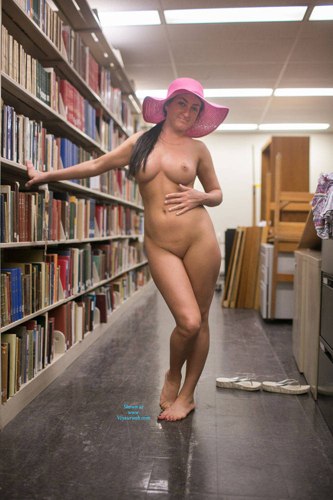 Pic #7 Library Fun Pt 2 - Less Shy - Nude Girls, Big Tits, Brunette, Public Exhibitionist, Flashing, Public Place, Shaved