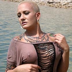 Hippie Hollow See-Thru - Big Tits, Blonde, Outdoors, See Through, Body Piercings, Tattoos, Beach Voyeur