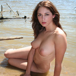 Lake Log - Big Tits, Brunette Hair, Nude In Public, Nude Outdoors, Naked Girl