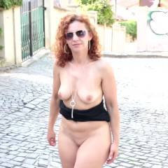 Lena - NIP Adventure  - Big Tits, Public Exhibitionist, Flashing, Masturbation, Outdoors, Public Place, Redhead, Toys, Shaved