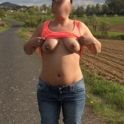 Flashing Around - Big Tits, Lingerie, Outdoors, Shaved, Amateur