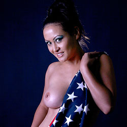 Big Tits Behind The Flag - Big Tits, Brunette Hair, Erect Nipples, Flashing Tits, Flashing, Nipples, Perfect Tits, Showing Tits, Hot Girl, Naked Girl, Sexy Body, Sexy Boobs, Sexy Face, Sexy Woman