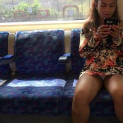 Upskirt On A Public Train - Public Place, Voyeur Upskirts