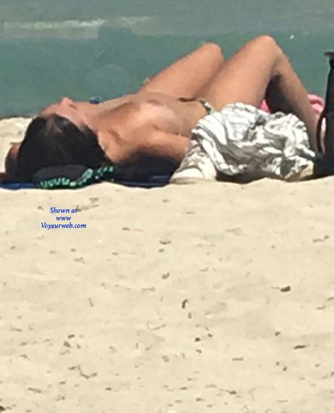 Pic #6 Mallorca Beach  - Topless Girls, Big Tits, Brunette, Outdoors, Beach Voyeur