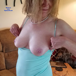 Sexy Red In Blue - Big Tits, Amateur
