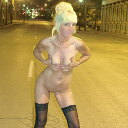 Having Fun In The Street - Nude Amateurs, Blonde, Public Exhibitionist, Outdoors, Public Place