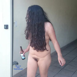 Laura Walking Around The Motel - Nude Girls, Brunette, Outdoors, Amateur