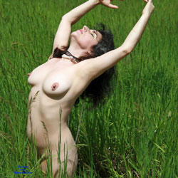 Out In The Prairie Grass  - Nude Girls, Big Tits, Brunette, Outdoors, Amateur, Body Piercings, Nature
