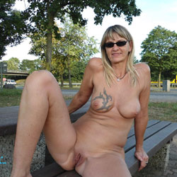 Regina Aus Halver Total Nackt an der Autobahn - Nude Girls, Big Tits, Blonde, Public Exhibitionist, Flashing, Outdoors, Public Place, Shaved, Tattoos