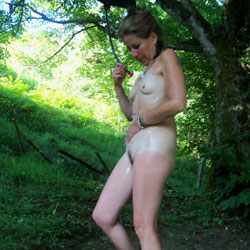 Cooling Down In The Outdoor Shower - Nude Girls, Outdoors, Small Tits, Bush Or Hairy, Amateur