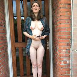 On Balcony Looking For Bus - Big Tits, Brunette, Outdoors