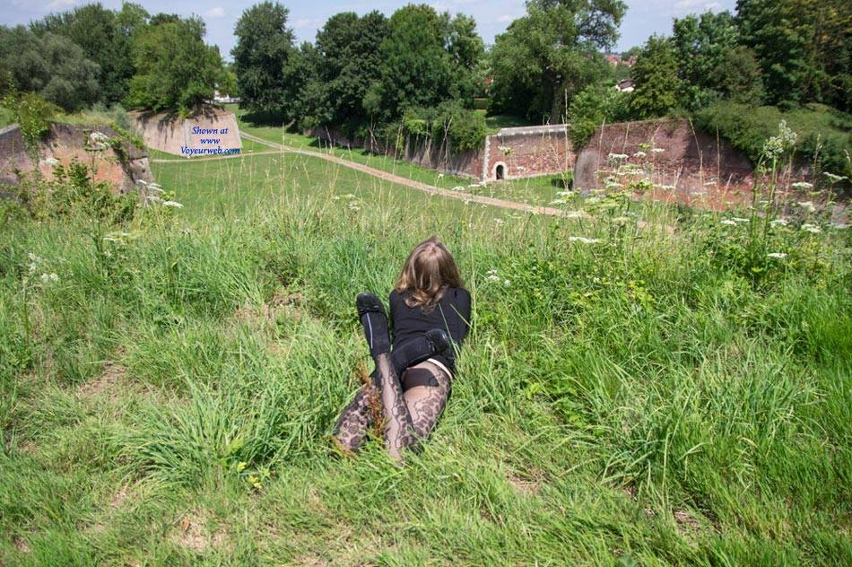 Pic #3 Emma Strolling Through The Fortress - Nude Girls, Big Tits, Public Exhibitionist, Flashing, Outdoors, Public Place, Bush Or Hairy, Amateur