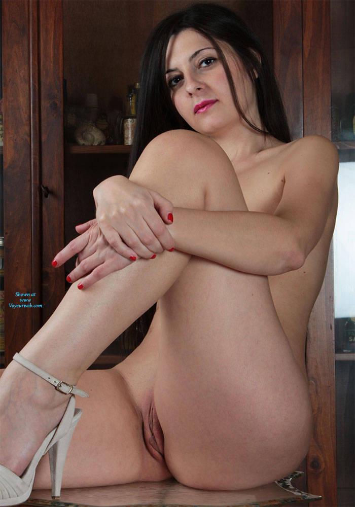 Pic #8 In The Living Room - Brunette, High Heels Amateurs, Shaved