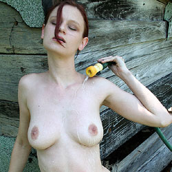 Water Out Of The Hose - Firm Tits, Full Nude, Hard Nipple, Naked Outdoors, Perfect Tits, Redhead, Shaved Pussy, Wet, Hot Girl, Sexy Body, Sexy Boobs, Sexy Face, Sexy Girl, Sexy Legs, Sexy Woman