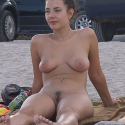 Hairy Brunette - Big Tits, Brunette Hair, Hairy Bush, Nude Outdoors, Beach Voyeur, Naked Girl