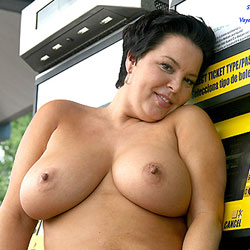 Bus Stop Topless Fun - Big Tits, Brunette, Public Exhibitionist, Outdoors, Public Place