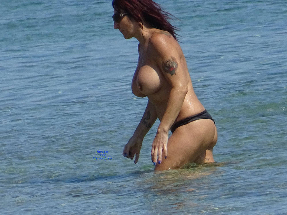 Pic #2 Topless Beach la Commenda Puglia Italy - Topless Girls, Big Tits, Brunette, Outdoors, Tattoos, Beach Voyeur