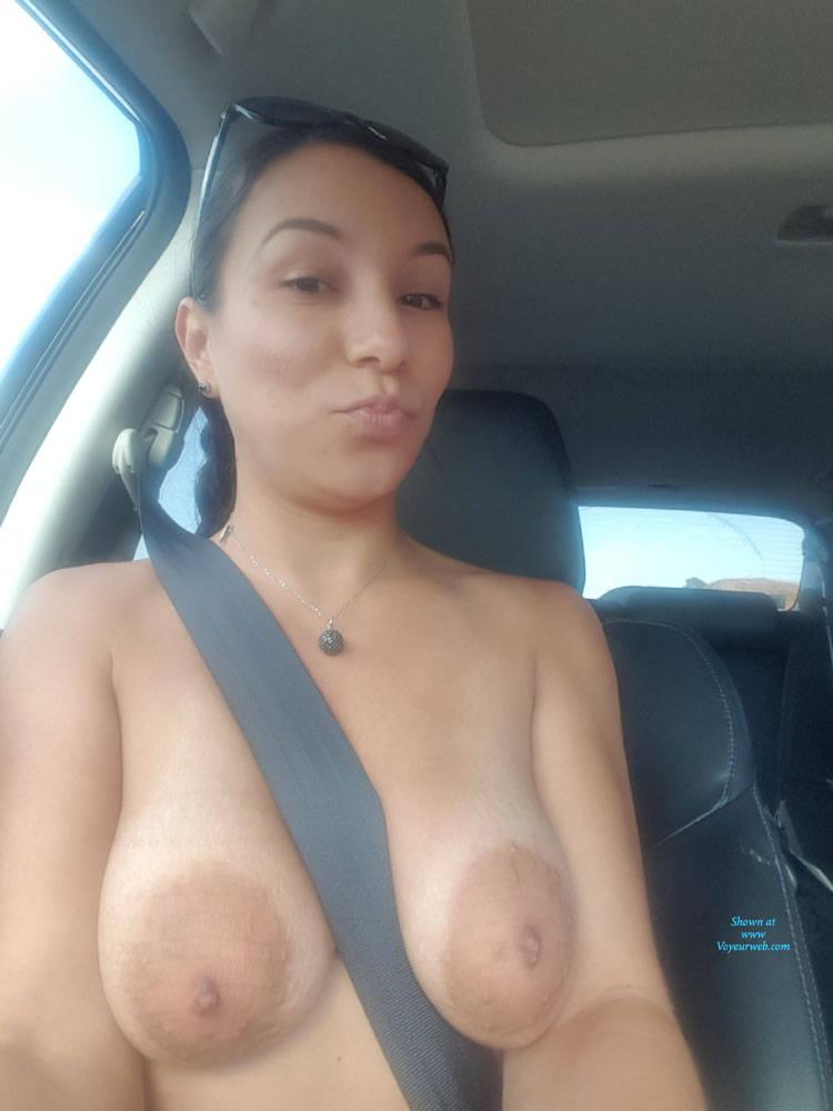 Pic #2 Roadside - Big Tits, Brunette, Public Exhibitionist, Outdoors, Amateur