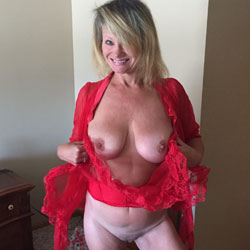 Red See Through Shirt - Big Tits, Blonde, See Through, Amateur