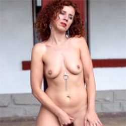 Lena - Railway Station - Nude Girls, Big Tits, High Heels Amateurs, Lingerie, Outdoors, Redhead, Shaved