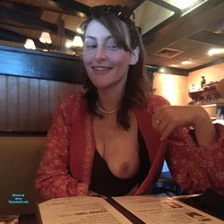 Piper Showing During Dinner - Natural Tits, Brunette, Public Exhibitionist, Flashing, Public Place, Amateur