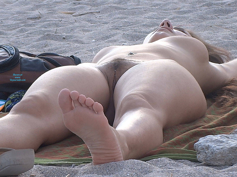 Pic #5 Hairy Brunette 2 - Nude Girls, Big Tits, Brunette, Outdoors, Bush Or Hairy, Beach Voyeur