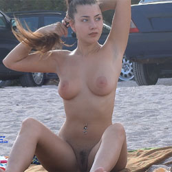 Hairy Brunette 2 - Nude Girls, Big Tits, Brunette, Outdoors, Bush Or Hairy, Beach Voyeur
