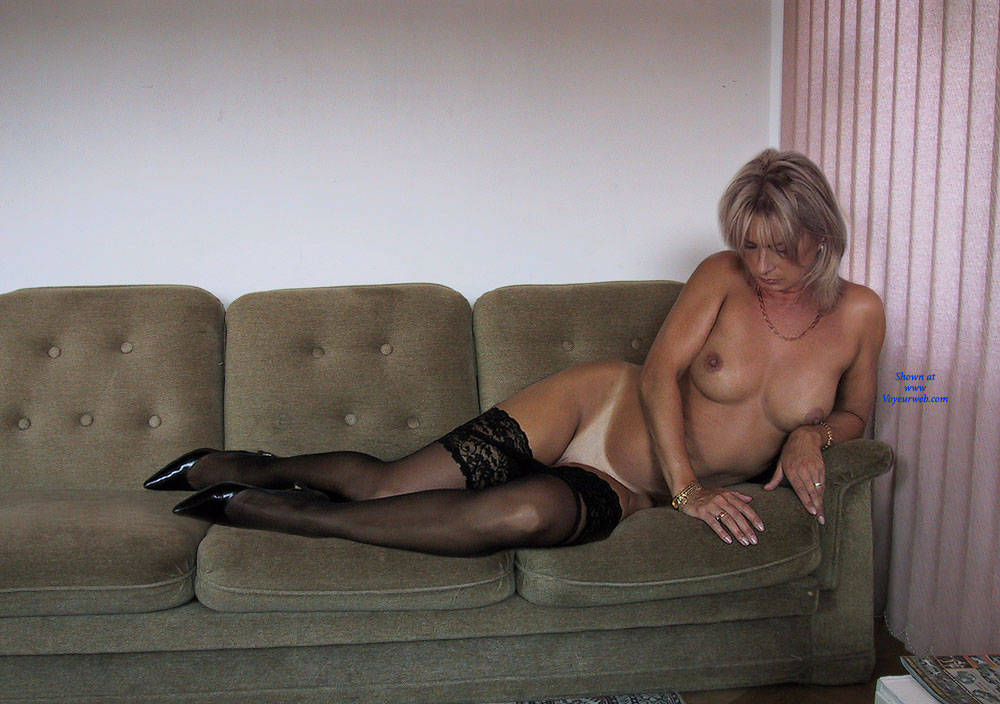 Pic #2 Black Stocking Only   - Nude Girls, Big Tits, Blonde, Lingerie, Shaved