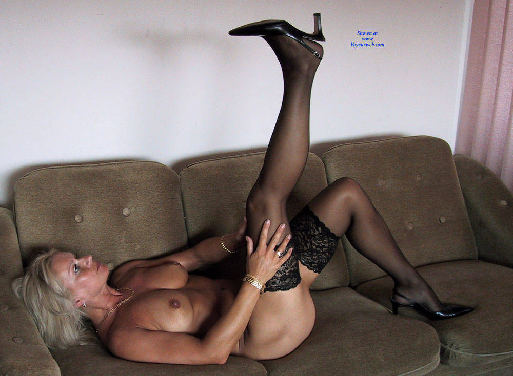 Pic #3 Black Stocking Only   - Nude Girls, Big Tits, Blonde, Lingerie, Shaved