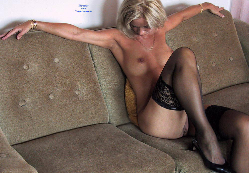 Pic #4 Black Stocking Only   - Nude Girls, Big Tits, Blonde, Lingerie, Shaved