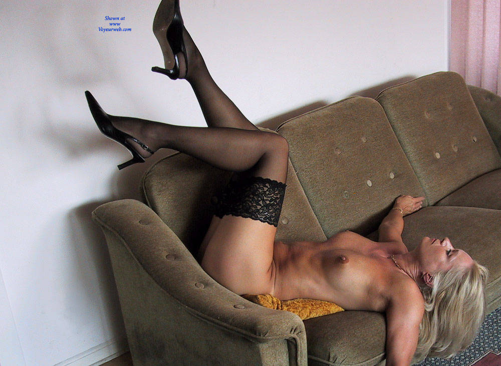 Pic #5 Black Stocking Only   - Nude Girls, Big Tits, Blonde, Lingerie, Shaved