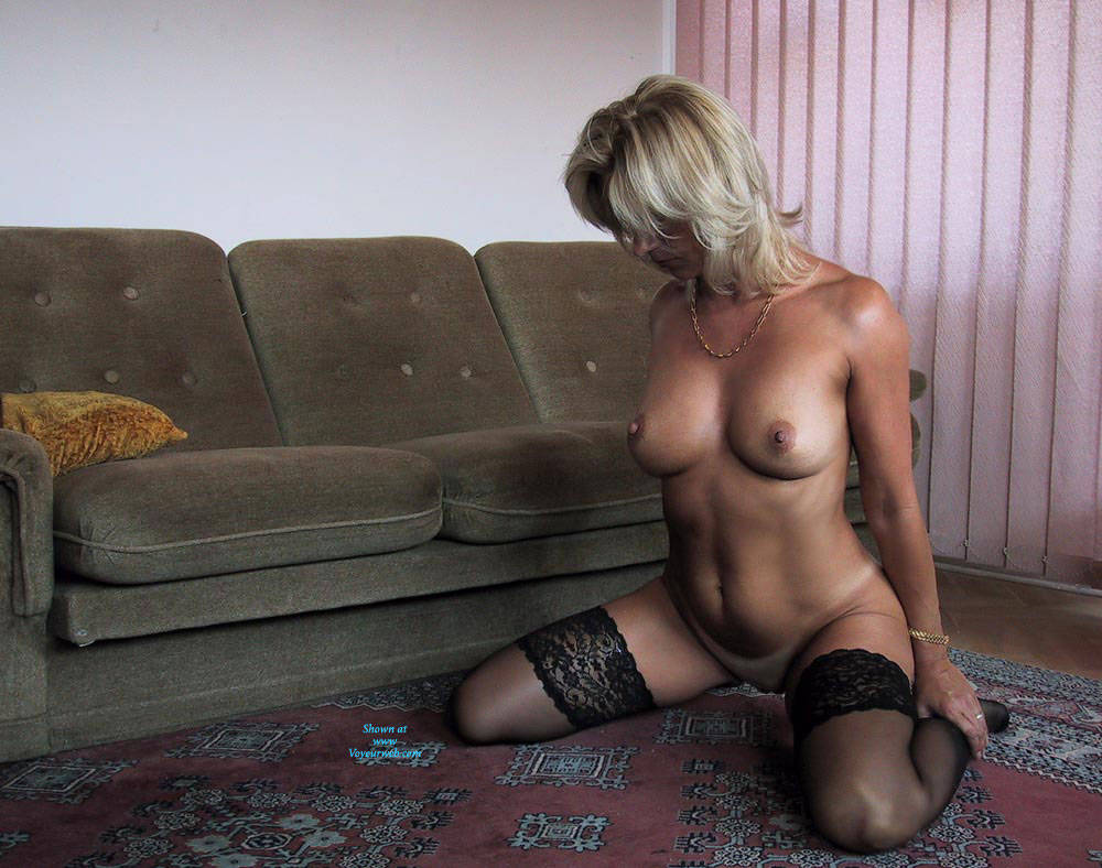 Pic #6 Black Stocking Only   - Nude Girls, Big Tits, Blonde, Lingerie, Shaved