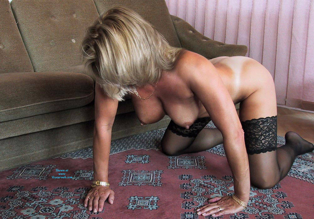 Pic #7 Black Stocking Only   - Nude Girls, Big Tits, Blonde, Lingerie, Shaved