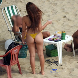 Yellow Bikini From Recife City - Brunette, Outdoors, Bikini Voyeur, Beach Voyeur