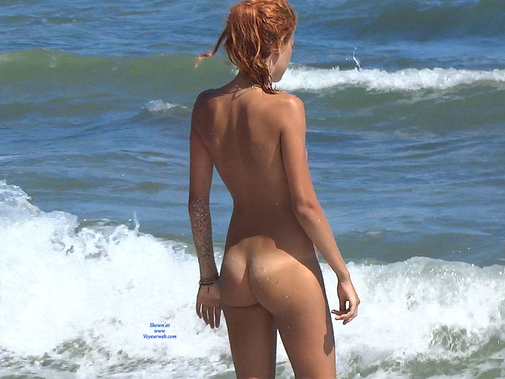 Pic #8 Red Haired Beauty - Nude Girls, Beach, Outdoors, Redhead, Shaved, Firm Ass, Beach Voyeur