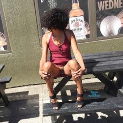 Out And About - Brunette, Public Exhibitionist, Flashing, Outdoors, Public Place, Amateur