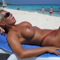 Blonde On Beach Topless In Red Bikini Bottoms - Blonde Hair, Sunglasses, Topless, Beach Voyeur