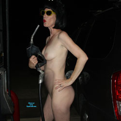 Patsy Goes To The Pump! - Nude Girls, Brunette, Public Exhibitionist, Outdoors, Public Place