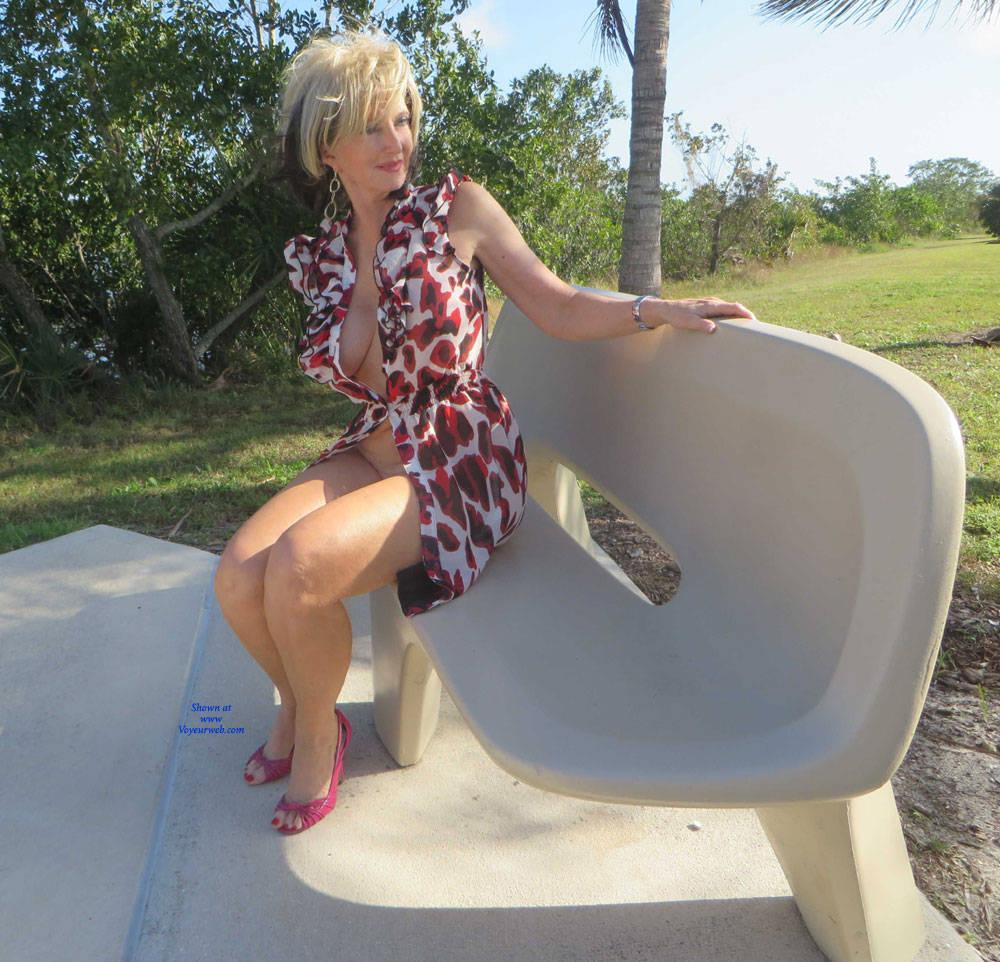 Pic #3 Little Print Dress - Big Tits, High Heels Amateurs, Outdoors, Shaved