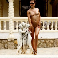 Nude Girl Standing By Little Statue Outdoor - Shaved Pussy, Small Breasts, Hot Girl, Naked Girl, Nude Amateur, Nude Wife