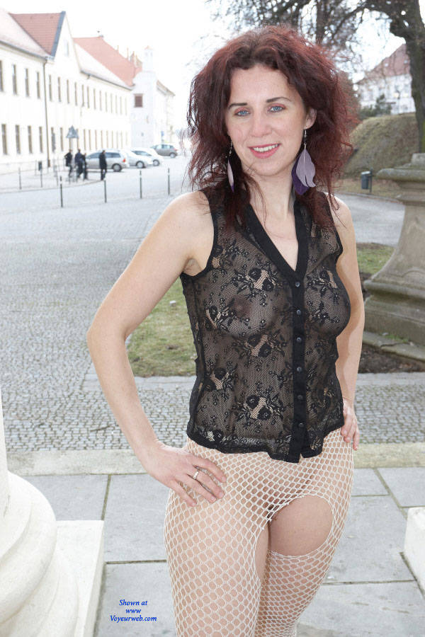 Pic #7 Lena - Adventures In The Castle Garden - Public Exhibitionist, Flashing, High Heels Amateurs, Outdoors, Public Place, See Through, Shaved