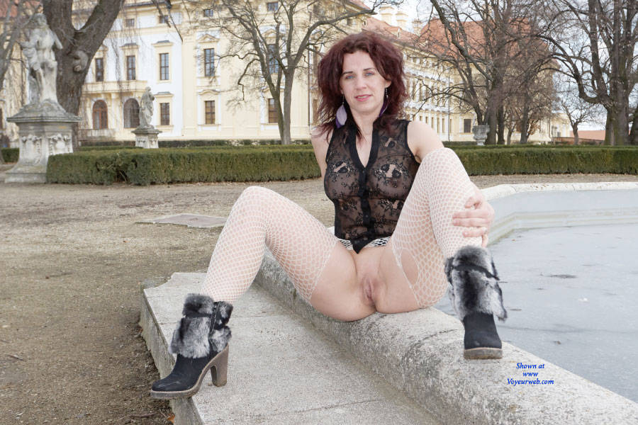 Pic #6 Lena - Adventures In The Castle Garden - Public Exhibitionist, Flashing, High Heels Amateurs, Outdoors, Public Place, See Through, Shaved